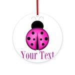 Purple Ladybug Round Ornament