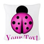 Purple Ladybug Woven Throw Pillow