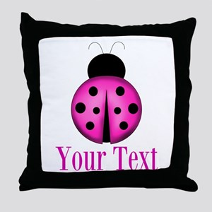 Purple Ladybug Throw Pillow