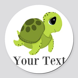 Personalizable Sea Turtle Round Car Magnet