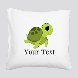 Personalizable Sea Turtle Square Canvas Pillow
