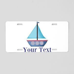 Customizable Blue Sailboat Aluminum License Plate