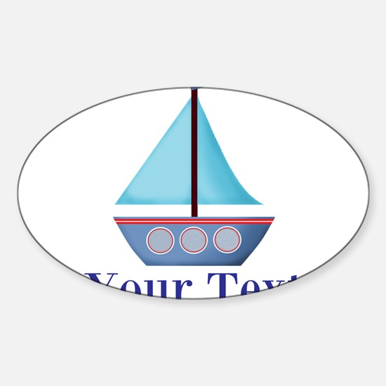 Customizable Blue Sailboat Decal