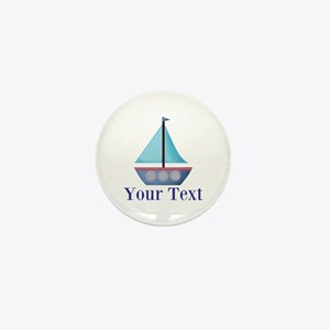 Customizable Blue Sailboat Mini Button