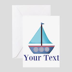 Customizable Blue Sailboat Greeting Cards