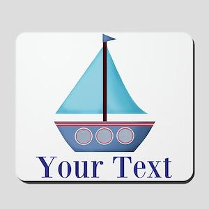 Customizable Blue Sailboat Mousepad