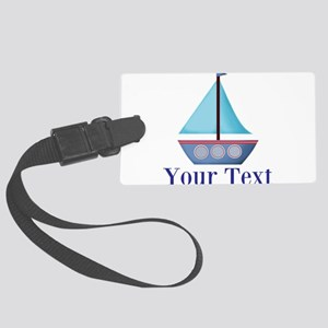 Customizable Blue Sailboat Luggage Tag