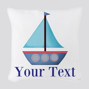 Customizable Blue Sailboat Woven Throw Pillow