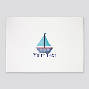 Customizable Blue Sailboat 5'x7'Area Rug