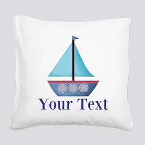 Customizable Blue Sailboat Square Canvas Pillow