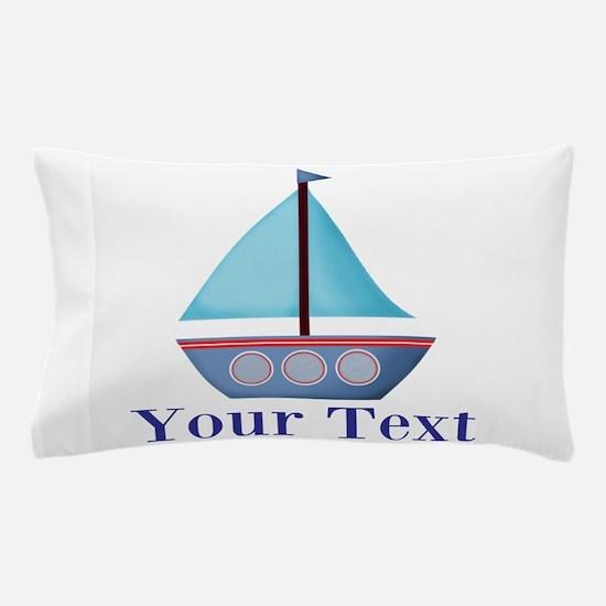 Customizable Blue Sailboat Pillow Case