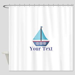 Customizable Blue Sailboat Shower Curtain