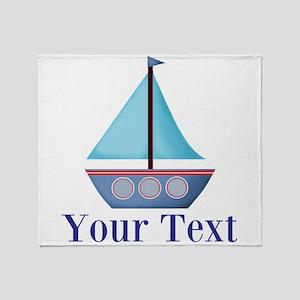 Customizable Blue Sailboat Throw Blanket