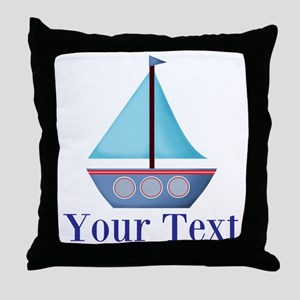 Customizable Blue Sailboat Throw Pillow