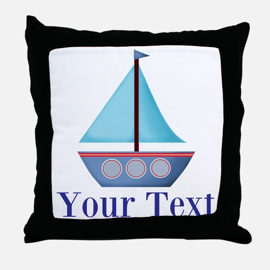Customizable Blue Sailboat Throw Pillow