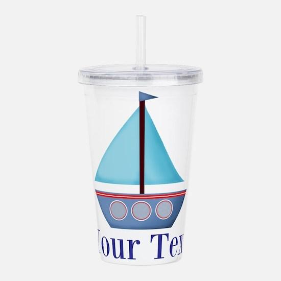 Customizable Blue Sailboat Acrylic Double-wall Tum