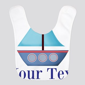 Customizable Blue Sailboat Polyester Baby Bib