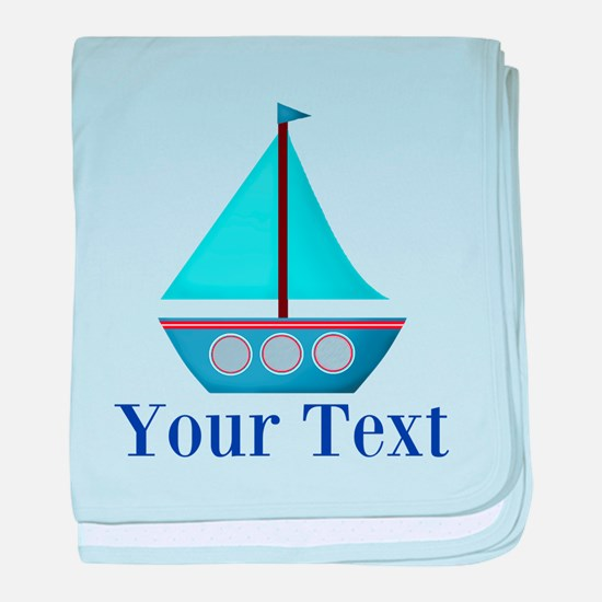 Customizable Blue Sailboat baby blanket