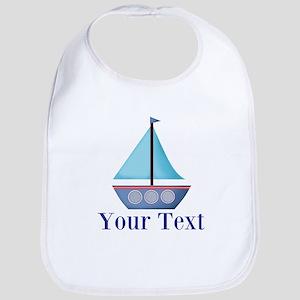 Customizable Blue Sailboat Baby Bib