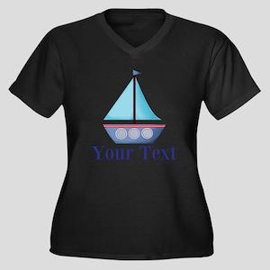 Customizable Blue Sailboat Plus Size T-Shirt