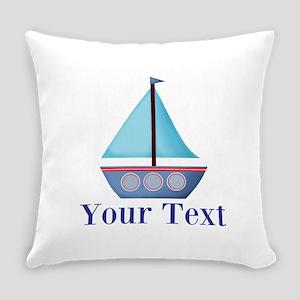 Customizable Blue Sailboat Everyday Pillow
