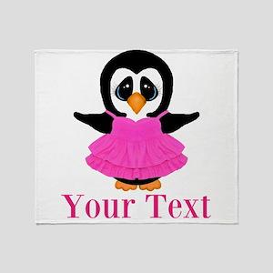 Personalizable Penguin in Pink Throw Blanket