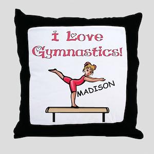 I Love Gymnastics (Madison) Throw Pillow