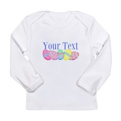 Personalizable Easter Eggs Blue Long Sleeve T-Shir