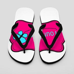 Personalizable Pink Teal Butterfly Flip Flops