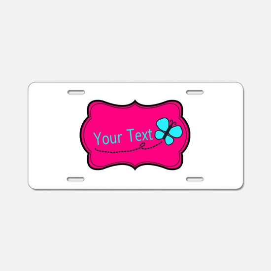 Personalizable Pink Teal Butterfly Aluminum Licens