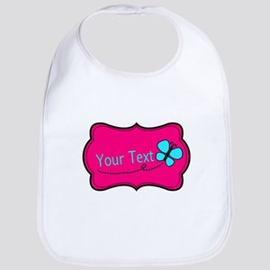 Personalizable Pink Teal Butterfly Baby Bib