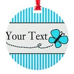 Personalizable Teal Butterfly Ornament