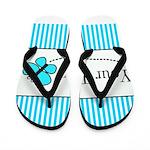Personalizable Teal Butterfly Flip Flops