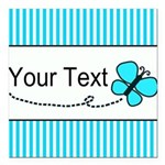 Personalizable Teal Butterfly Square Car Magnet 3