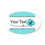 Personalizable Teal Butterfly Oval Car Magnet