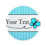 Personalizable Teal Butterfly Button