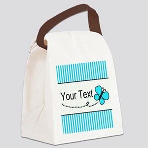 Personalizable Teal Butterfly Canvas Lunch Bag