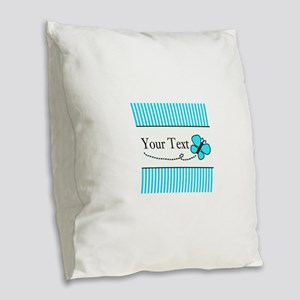 Personalizable Teal Butterfly Burlap Throw Pillow