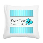 Personalizable Teal Butterfly Square Canvas Pillow