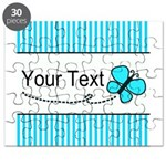 Personalizable Teal Butterfly Puzzle