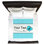 Personalizable Teal Butterfly King Duvet