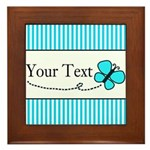 Personalizable Teal Butterfly Framed Tile