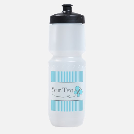 Personalizable Teal Butterfly Sports Bottle