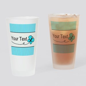 Personalizable Teal Butterfly Drinking Glass