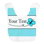 Personalizable Teal Butterfly Polyester Baby Bib
