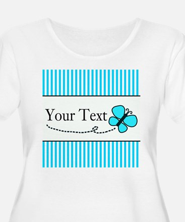 Personalizable Teal Butterfly Plus Size T-Shirt