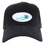 Personalizable Teal and Black Butterfly Baseball H