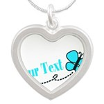 Personalizable Teal and Black Butterfly Necklaces