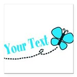 Personalizable Teal and Black Butterfly Square Car