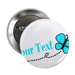 Personalizable Teal and Black Butterfly 2.25